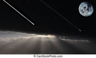 a full moon peering over the clouds on a stormy and starry night with shooting stars ther to wish upon