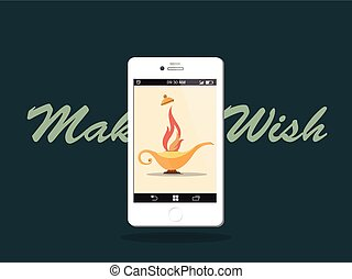 Make a wish! Smart phone of Modern Aladdin's Lamp