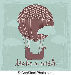 Make a wish vintage card vector template with hot air balloon silhouette