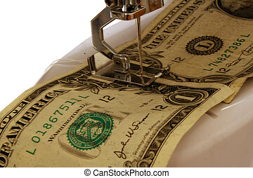 Make Ends Meet - Two US One Dollar Bills being sewn together...