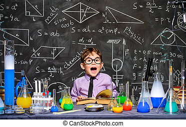make great discovery - Little boy scientist in the...