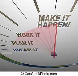 A white speedometer background with words representing steps to achieving success - Dream, Plan, Work, Make it Happen
