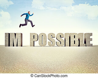 make it possible - man jump over 3d possible word