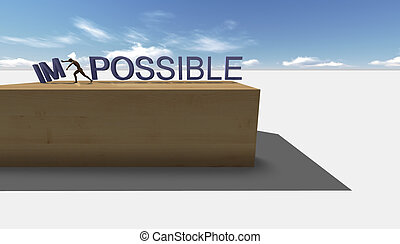 Make it possible. Motivational concept made in 3d software