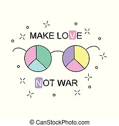 Make love not war. Rainbow hippie sun glasses with peace sign. Vector