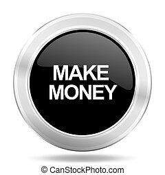 make money black icon, metallic design internet button, web and mobile app illustration