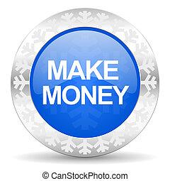 make money blue icon, christmas button