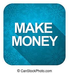 make money flat icon, christmas button