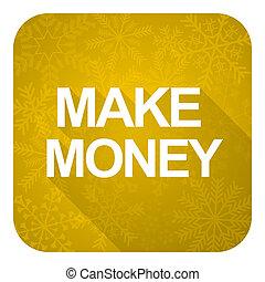 make money flat icon, gold christmas button