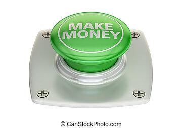 make money green button, 3D rendering