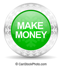 make money green icon, christmas button