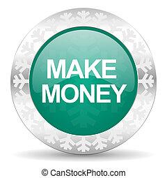 make money green icon, christmas button