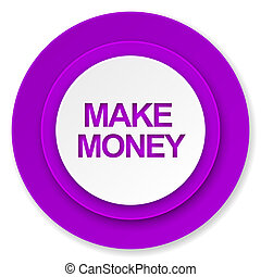 make money icon, violet button