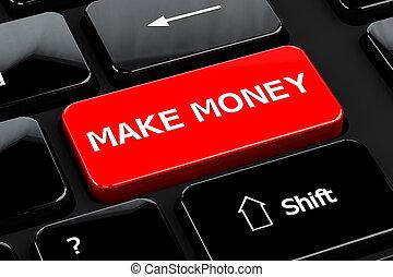 Make money on computer keyboard background
