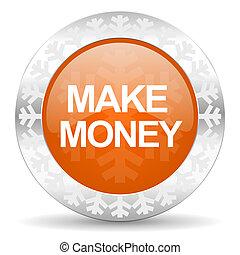 make money orange icon, christmas button