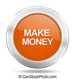 make money orange icon, metallic design internet button, web and mobile app illustration