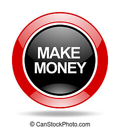 make money red and black web glossy round icon