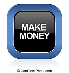 make money square glossy icon