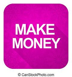 make money violet flat icon, christmas button