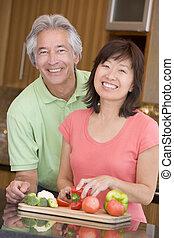 make och hustru, förberedande, måltiden, tillsammans