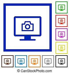 Make screenshot flat color icons in square frames on white background