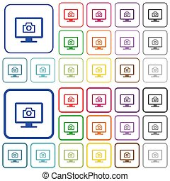 Make screenshot color flat icons in rounded square frames. Thin and thick versions included.