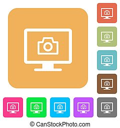 Make screenshot flat icons on rounded square vivid color backgrounds.