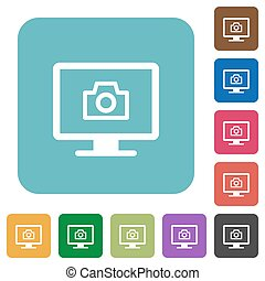 Make screenshot white flat icons on color rounded square backgrounds