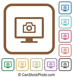 Make screenshot simple icons in color rounded square frames on white background