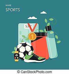 Make sports vector flat style design illustration - Make...