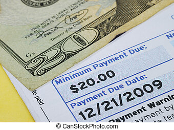 Make the minimum payment on the credit card bill isolated on yellow