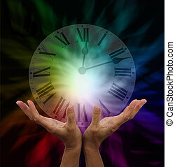 Make time for healing - Healer's hands outstretched with...