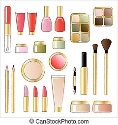 A vector illustrations of various cosmetic products. Sketch style isolated on white