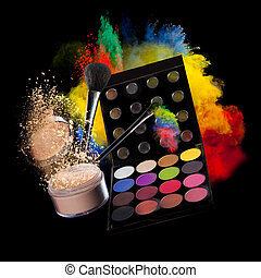 Make-up accesories with frozen motion of colored powder