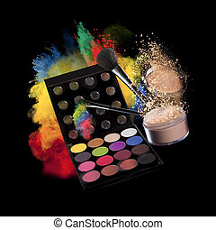 Make-up accessories - Freeze motion of colored dust...