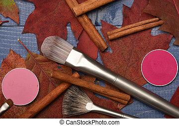 Make up and beauty concept. Autumn makeup supplies