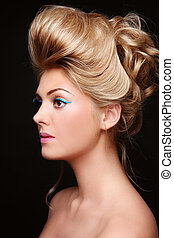 Make-up and hairdo - Portrait of young beautiful woman with ...