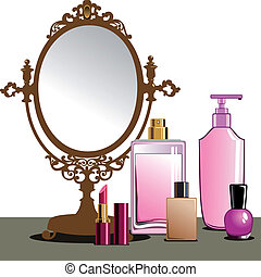 Collection of cosmetics and beauty products and antique mirror.