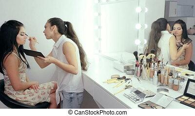 Make-up artist applying makeup - makeup artist doing makeup...