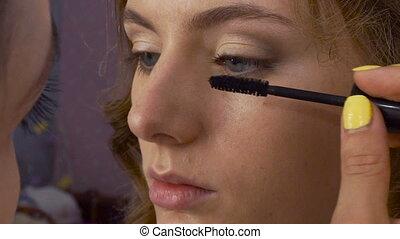 Make-up artist applying makeup to model's