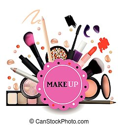 Make Up Artist Objects. lipstick, eye shadows, eyeliner,...