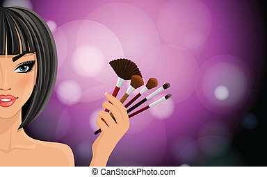 Make up background - Pretty woman with black hairs holding...
