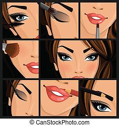 Make-up beauty woman set of lips eyes face on black...