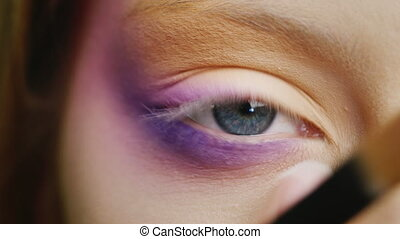 Make-up blue-eyed woman