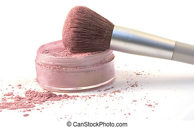 Colored photograph of a make-up brush that has been dipped in blush powder. All placed against a white background. Taken with Sony Alpha 100.