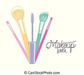 make up brushes accessories colorful vector illustration ...