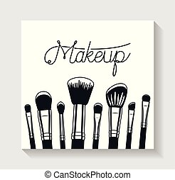 make up brushes accessories icons vector illustration design