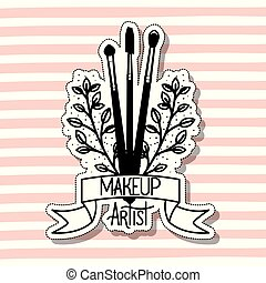 make up brushes accessories in card vector illustration ...