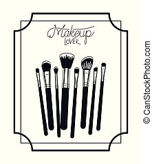 make up brushes accessories in frame vector illustration ...