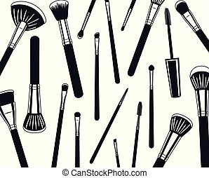 make up brushes accessories pattern vector illustration ...